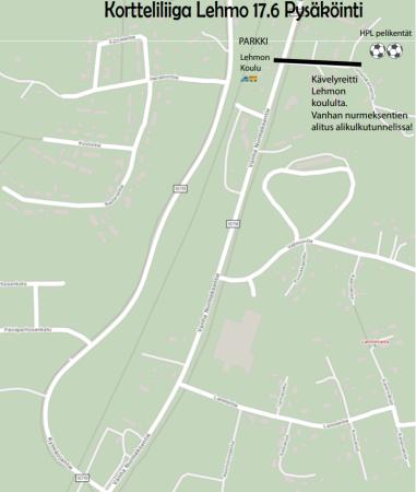 Kartta kortteliliiga pysäköinti